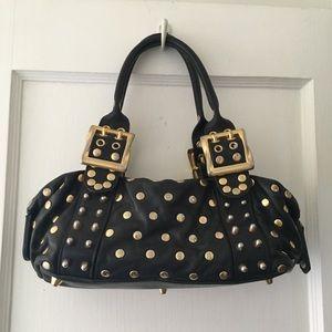 "Black leather and gold Be & D ""Garbo"" satchel bag"