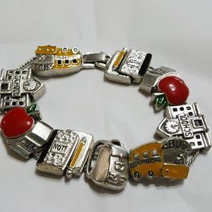 Teacher School Bus Slide Bracelet Silver Tone