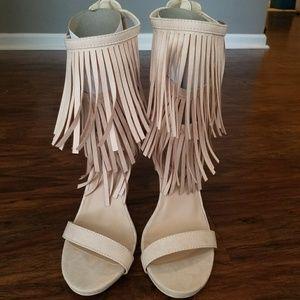 Fringe High Heel Sandal