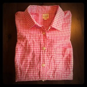 J.Crew pink and white button-down shirt, xs