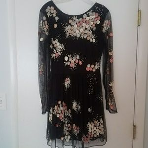 Black mesh dress with sequins flowers