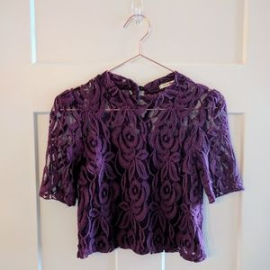 Tops - Forever 21 Purple lace cropped top