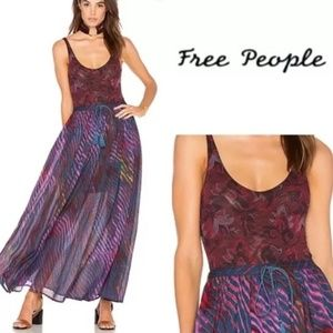 Intimately Free People Freesia Merlot Bodysuit Lg