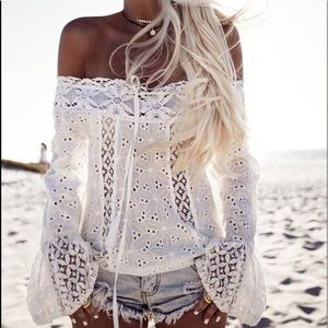Tops - Off Shoulder Eyelet Lace Bell Sleeve White
