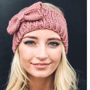 New❣️Rose Bow Cable Knit Headband