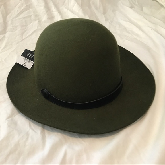 M//L size S//M TOPMANDark Green High Crown Bowler Hat,100/% wool