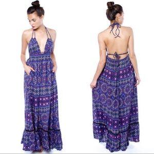 6 shore road planet blue maxi halter mandala dress