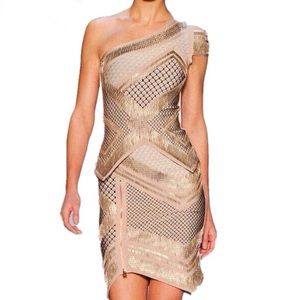 Dresses & Skirts - NWOT Gold bandage dress in rayon, 2 piece