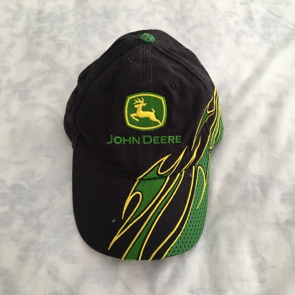 John Deere Accessories Black Dad Hat Cap With Green Flame