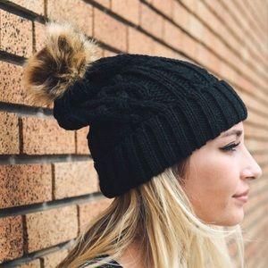 New❣️Black Cable Knit Beanie with Pom-Pom