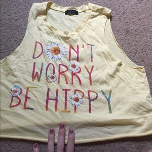 Tops - cute dont worry be hippy tank top