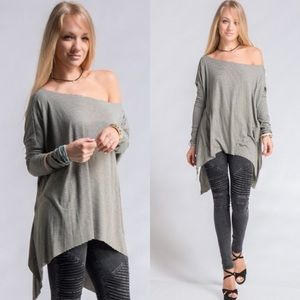 Tops - Olive Stripe Off Shoulder Tunic