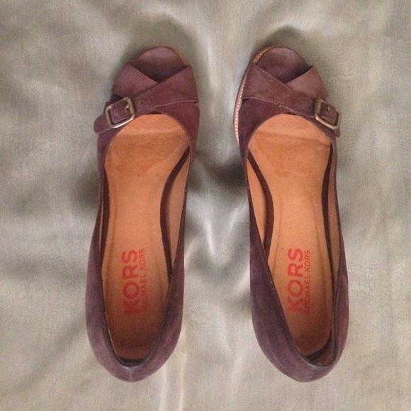 Michael Kors wooden heels with brown suede