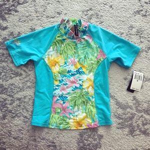Ralph Lauren Girl blue floral swim shirt