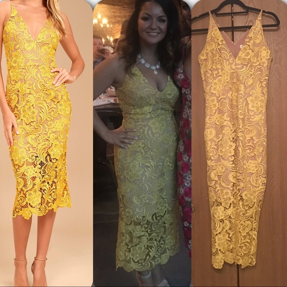 The Population Marie In Yellow Lace Midi Dress