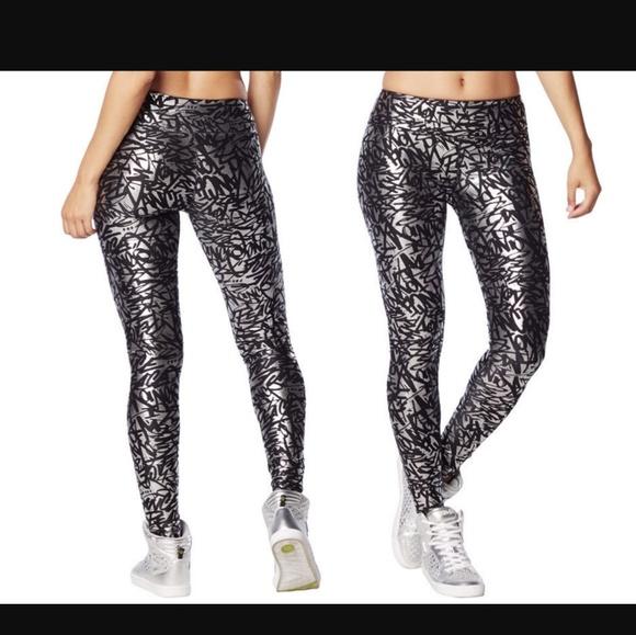 0a1a442d3296 Zumba silver metallic long leggings XL