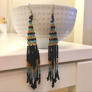 ✨Free People Statement Beaded Black Drop Earrings
