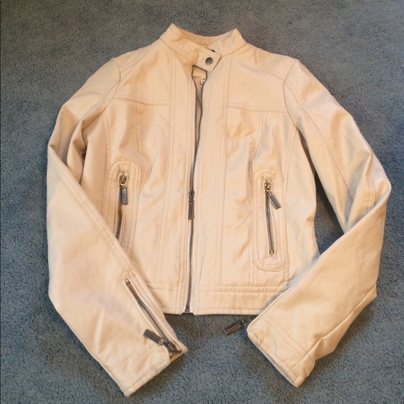 11873a3c2 White Faux Fitted Leather Jacket