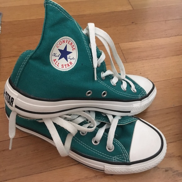 Converse Shoes - Dark blue green high top converse Size 6 Women s ddedc5b61