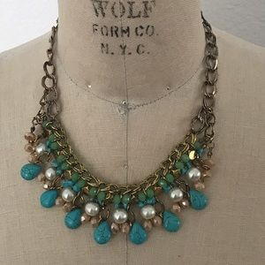 Jewelry - Turquoise and pearl statement necklace