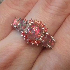 Jewelry - Red fire Opal orange garnet size 7 ring marked 925