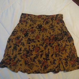 Urban outfitters mustard floral mini skirt size 0