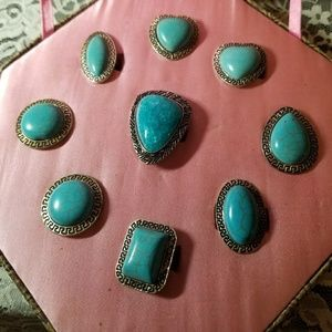 Jewelry - Turquoise Rings Set Of 9 Adjustable Silver