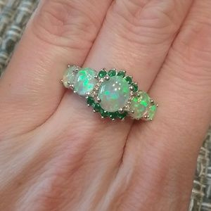 Jewelry - Green fire opal emerald size 7 ring marked 925