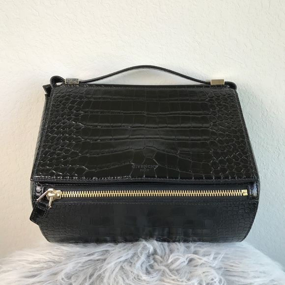 832df602db Givenchy Bags | Pandora Box Croc Embossed Leather Satchel | Poshmark