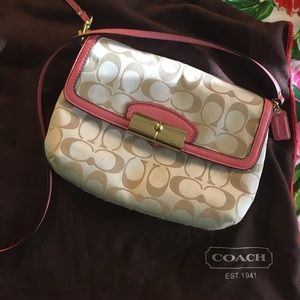 Coach Crossbody- beige and pink