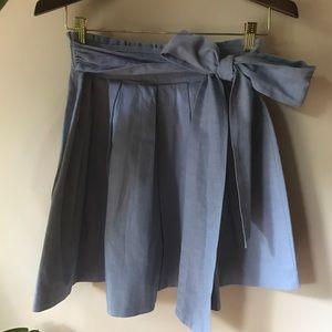 Blue Pleated Miniskirt