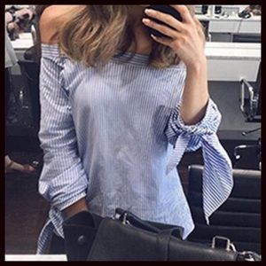 Tops - OFF SHOULDER BLUE AND WHITE STRIPE TOP