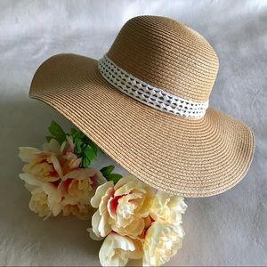 Accessories - ✨New! Tan Floppy Hat w/White Crochet Ribbon