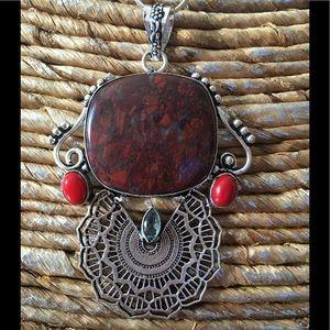 Jewelry - Jasper, Coral, and Blue Topaz 925 Silver Pendant🎀