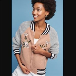 Anthropologie Maeve embroidered bomber