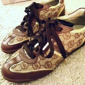 Gold Trim  Michael Kors Sneakers in Box! Like new!