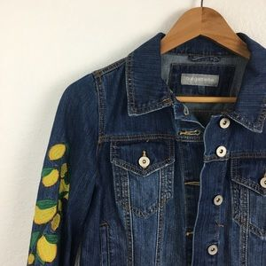 Jackets & Blazers - Bagatelle lemon embroidered denim jacket cropped
