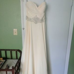 Champagne wedding dress with bead detailing