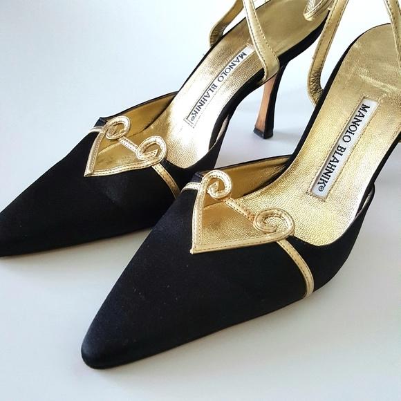 "Manolo Blahnik Shoes - Manolo Blahnik Black Satin Ankle-Wrap 4"" Pump"