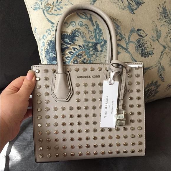 7a185b6992ac Michael Kors Bags | Brand New Mercer Medium Studded Bag | Poshmark