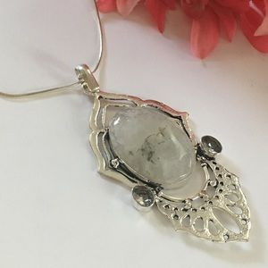 Jewelry - 🛍Moss Agate and White Topaz Silver Pendant🌸NEW💫