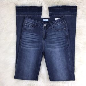 Kensie Dark Raw Hem High Rise Long Flare Jeans