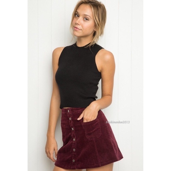 1fa767ef6d Brandy Melville Burgundy ButtonDown Corduroy Skirt.  M_59950b9c13302a5c9c01486e