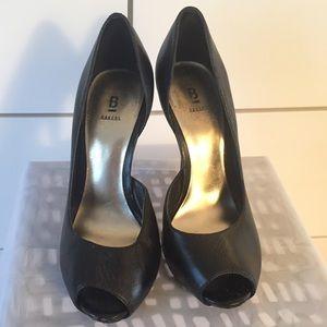 Black peep toe pumps, size 5