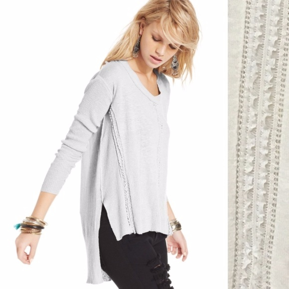 Free People Sweaters - FREE PEOPLE oversized slouchy Lace HighLow Sweater