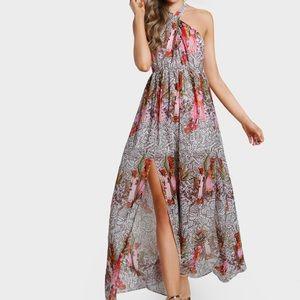 NWT Keyhole Cross Neck Backless Slit Dress
