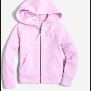 🌈 J.Crew Girls zip up Hoodie light pink lilac NWT