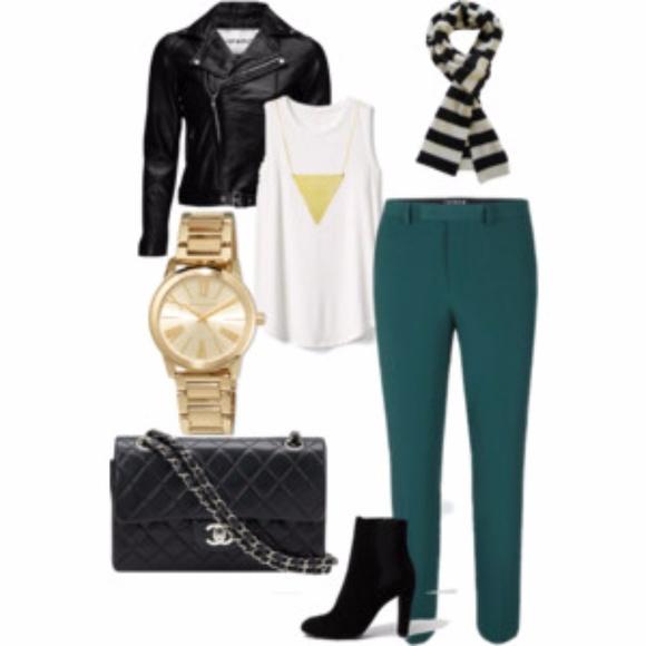 Narciso Rodriguez Pants - Narciso Rodriguez: Teal pants w/ black stripe
