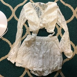 Nasty Gal Love Me Lace Top and Shorts Set