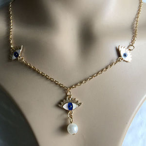 18k  gold plated Pearl Eyes Pendant Necklace Chain